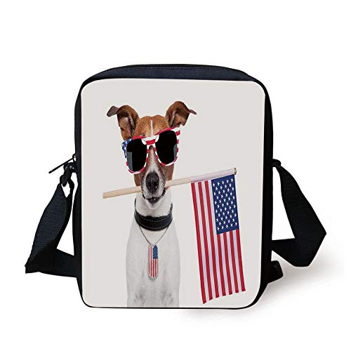 Dog Lover Decor,American Dog with USA Flag and Shades Sunglasses Anniversary Independence Liberty Decorative, Print Kids Crossbody Messenger Bag Purse