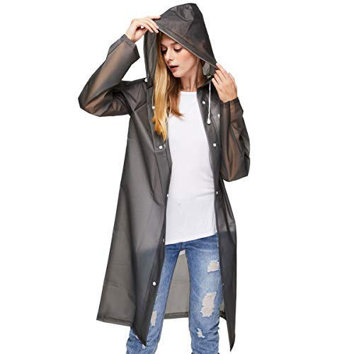 UNIQUEBELLA Transparent Regenmantel Damen Wasserdicht EVA Travel Regenbekleidung Regen Zubehör Regenjacke mit Kapuze für Wandern Radfahren Camping und Reisen Schwarz M -