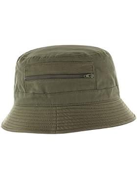 Fischerhut für Damen und Herren aus 100% Baumwolle, Anglerhut mit eingenähter Tasche (Reißverschluss), idealer...