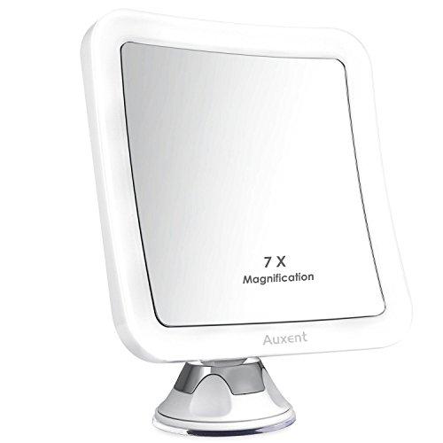 Auxent Kosmetikspiegel LED Beleuchtet mit 7x Vergrößerung und Starkem Saugnapf, 360° Schwenkbar, Make-Up-Spiegel Schminkspiegel mit Blendfreier Beleuchtung für Zuhause und Unterwegs