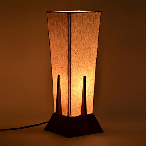 ExclusiveLane 14Inch Pyramid Decorative Table Lamp In Sheesham Wood -Lamps For Living Room Gift Item Night Lamp Table Top Table Lamps For Bedroom Bedside Night Lamps