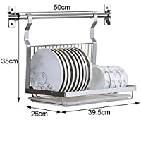 drainer rack - Kitchen wall-mounted storage rack, foldable stainless steel dish drying shelf