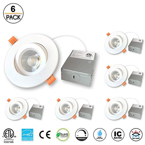 10,2 cm Gimbal LED Einbauleuchte mit Abzweigdose, 15 W, 1000 Lumen, neigbar und drehbar, TRIAC Dimming, ETL & Energy Star Listed 6 Pack 5000K - 4 Gb Werkzeuge