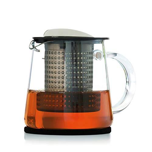 Finum TEA CONTROL Teekanne aus Glas mit patentierter Brühkontrolle - Teebereiter mit Dauerfilter - Teezubereiter 0,4 Liter - Glaskanne für Tee, Schwarz - Copolyester-glas