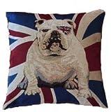 Kissenbezug Fridolin 40x40cm Kissenhülle Vintage England englische Bulldogge Nostalgie Hund Flagge Union Jack Kissen Dekokissen