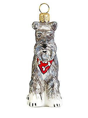 Joy to the World Floppy Ears Grey Schnauzer with Bandana Polish Glass Christmas Tree Ornament New