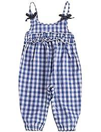 BOBORA Toddler Baby Girls Sleeveless Plaid Jumpsuit with Headband Clothes Set