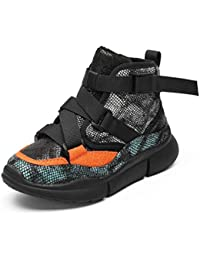 Zapatillas de Deporte Altas para niños con Correa de Hebilla para niños de Invierno Calzado Casual y Casual Zapatillas de Deporte de Cuero para niña Zapatillas de Suela Negra Boy