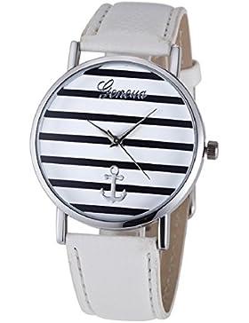 Culater® Damen Mädchen Streifen Anker PU Leder Uhr Armbanduhr Silber + Weiß