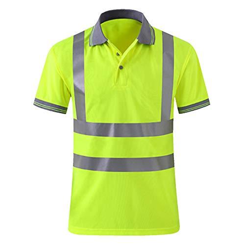Vertvie Herren und Damen Warnschutz T-Shirt Reflektierendes T-Shirt Fluoreszierendes T-Shirt Fahrrad Straßenbau Sicherheit T-Shirt Reitkleidung Kurzarm Sicherheitsweste (2XL, Gelb 2) - Reflexion 2 T-shirt
