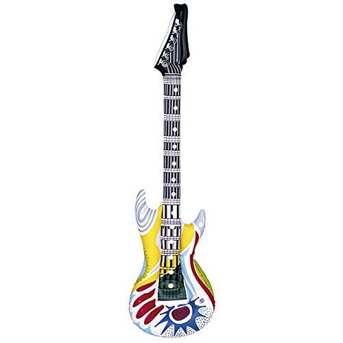 Deko Luftgitarre Rockstar Gummigitarre Funky Rocker Inflatable Guitar Aufblasbare Gitarre Partydeko aufblasbar Mottoparty Musikinstrument Accessoire Party Gitarren Instrument