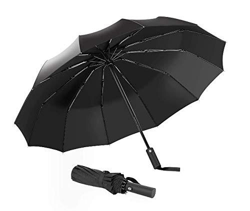 Ombrello Pieghevoli Antivento Automatico con 12 Stecche Rinforzate 210T impermeabile Tessuto - per Uomo e Donna Maniglia Non Scivolosa (Nero)