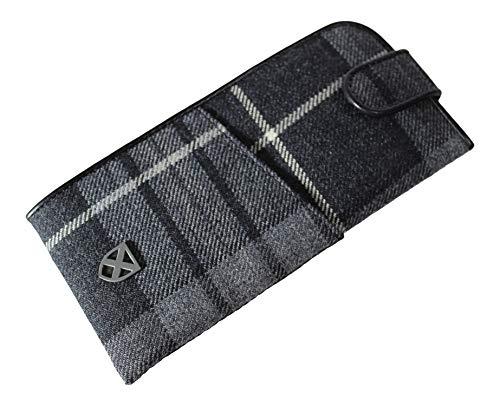 KWH Herren Grau Schwarz Weiß Hebridean Granit Tartan Brille Specs Case Pouch