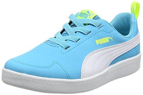Puma Unisex-Kinder Courtflex Ps Low-Top Blau (blue atoll-puma white 02)