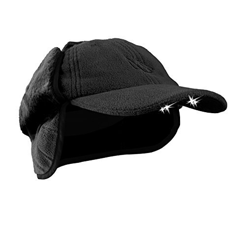 POWERCAP CUB4W-2443 LED Lighted Winter Fleece Hat with Ear Flaps, One Size Fits Most, Black by POWERCAP - Fleece-flap Hat
