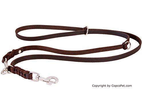 CopcoPet - Fettlederleine geflochten. dreifach verstellbar mit verchromten Karabiner. Braun 2.40 m x 8 mm