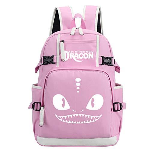 AUGYUESS - Mochila Escolar para portátil, diseño de dragón Rosa Rosa 3 XL