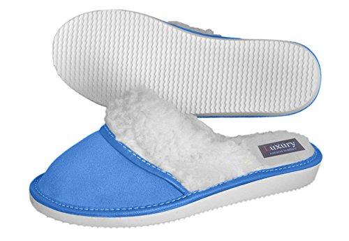Pantofole da donna in vera pelle con rivestimento in lana Colori vari Blue