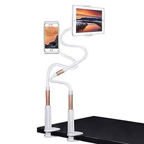 iMucci iPad Halter iPhone Stand Tablet Mount, 1.2M lange Schraubklemme mit Halterung Geräte 4-10.6 Zoll 360 Grad drehenden flexiblen Arm (Weißgold)