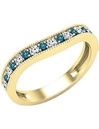 Dazzlingrock Collection - Banda de boda apilable para mujer, piedra preciosa redonda y diamante blanco, oro amarillo de 10 quilates
