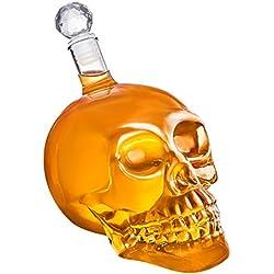 Frasco de vidrio con forma de cráneo y tapón de corcho (350, 550 o 1000 ml) para whisky, vino y licores, 1000 ml