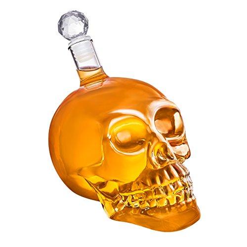 Schädel-Flasche aus Glas mit Korken [350ml, 550ml oder 1000ml] Skull Head Glaskaraffe für Whisky, Wein und Spirituosen ()