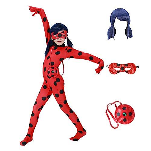 Greatchildren miracolosa coccinella ragazze costumi cosplay di halloween di natale per le ragazze parrucca bambini coccinella marinette cosplay ragazze si vestono (m(105-115))