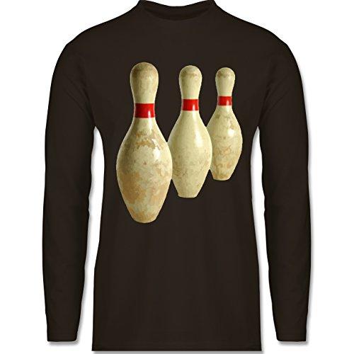 Shirtracer Bowling & Kegeln - Alte Pins Kegel Vintage - Herren Langarmshirt Braun