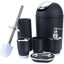 Yosoo 6 piezas de plástico Botellas de baño Accesorios de baño Set de baño Loción conjunto de accesorios de lujo, cepillo de dientes titular, ...