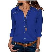 DressU Women Long-sleeve Button Down Casual Solid Color Chiffon Blouse Tunic Tops Sapphire Blue L