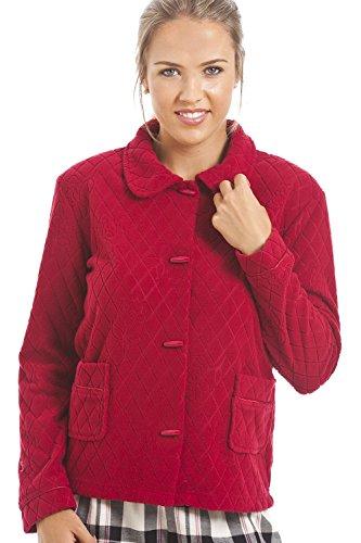 Camille - Damen Bettjacke - Jacquard-Fleece mit Blumenmuster - Rot 46/48 (Damen-bettjäckchen)