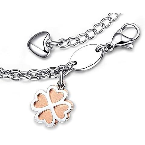 Ashley Jewellery-Catenina in acciaio INOX a forma di quadrifoglio, 4, per donna o ragazza, Teen