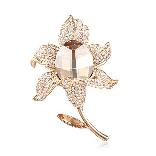 Sue's secret oro spille donna - rosa fiore spilla - cristallo austriaco di swarovski -zirconia gioielli europei - gioielleria regalo ideale per madre/amico/figlia/amica/ragazza