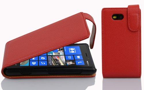 Preisvergleich Produktbild Cadorabo - Flip Style Hülle für Nokia Lumia 820 - Case Cover Schutzhülle Etui Tasche in INFERNO-ROT