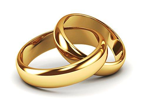 Eheringe Partnerringe Trauringe Verlobungsringe Freundschaftsringe in Gold Plattiert 4mm Breit *mit Gravur und Stein* P1 - Männer-verlobungsringe, Platin
