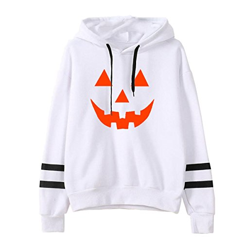 Lanmnorn Damen Brief Strassenmode Halloween Kürbis Streifen KapuzenpulloverJacke Hoodie,Herbst Winter Langarm Pullover Bluse Sweatshirts Mit Doppeltem Hut. (Alternative Halloween Kostüme 2017)