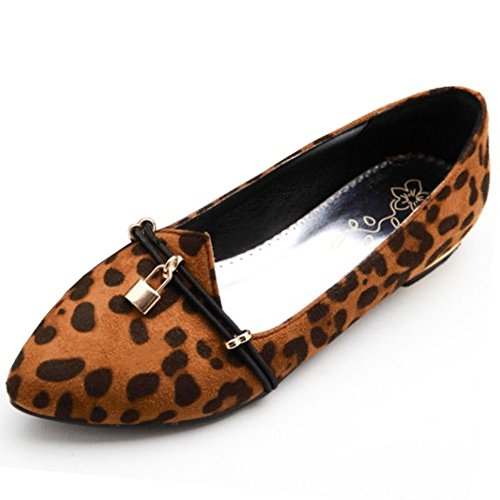 COOLCEPT Femmes Mode Confortable Appartements Escarpins Imprime leopard Ballerinas Ballerines Chaussures Extra Sizes Kaki