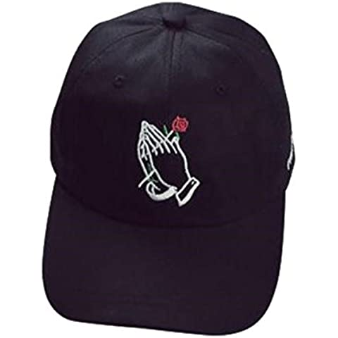 ZARU Gorra de béisbol rosa bordado de flores de algodón unisex del sombrero del Snapback (negro)