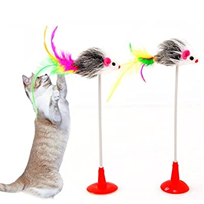 1pcs Funny Suction Cup Teaser Wand Mice Toy Catch Play Mouse Toy Teaser Feather Stick Toy for Cat Kitten