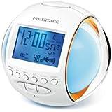 Metronic 477008 Radio-Réveil Lumineux 7 couleurs et 11 mélodies ZEN - Blanc