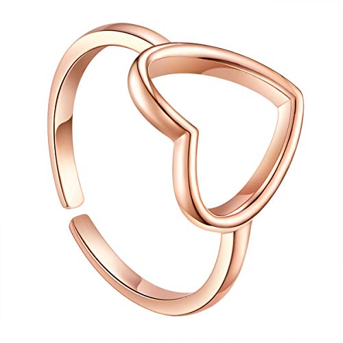 Shegrace anello semplice aperto regolabile da donna in argento 925 cuore amore, 17mm, regolabile, oro rosa, anello donna, gioielli donna, regalo di festa, regalo donna/ragazza/moglie/fidanzata