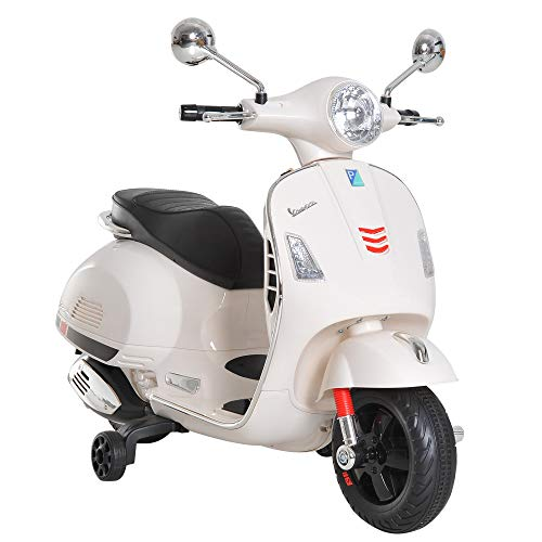 HOMCOM Moto Eléctrica Infantil Coche Triciclo Vespa Scooter Eléctrico a Batería con Luz MP3 USB Bocina para Niños 3-6 Años Carga 30kg