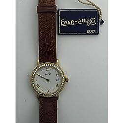 Eberhard Montre en Or 60037or Quartz Watch (Rechargeable) Gold quandrante White Leather Strap