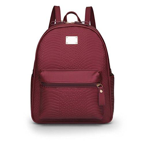 LDMB Damen-handtaschen Frauen Nylon große Kapazitäts-wasserdichter Rucksack justierbare leichte einfache wilde Bookbags-Einkaufstasche-Handtasche Red