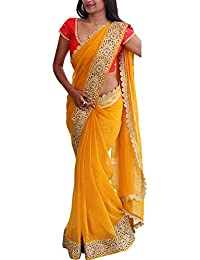 Isha Enterprise Women's Georgette Thread Work Saree (Yellow)