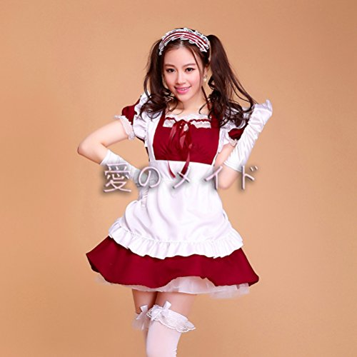 tzm2016 Anime Cosplay Maid Costumes£¬Cute Lolita French Maid Costumes ( Dark red ,Size - XXL )