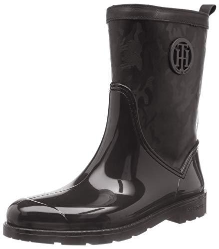 Tommy Hilfiger Damen Shiny CAMO RAIN Boot Gummistiefel, Schwarz (Black 990), 40 EU (Camo-gummi-stiefel)