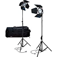 ISO L KIT MAN7 Set mit 2 Scheinwerfer + 2 Stative + 2 Blendschutzklappen + 2 Lampen DXX 800W R7S + 1 Transporttasche