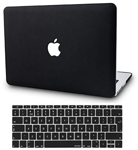 KECC MacBook Pro 15 Hülle (2019/2018/2017/2016) Leder Schutzhülle Case w/ EU Tastaturschutz MacBook Pro 15.4 {A1990/A1707} (Leder Schwarz) - Check Hard Case Cover