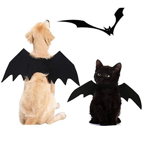 FLAdorepet Halloween-Kostüm für Hunde und Katzen, Fledermausflügel, L, schwarz